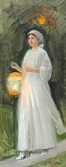 young girl in a light summer dress with a colored lamp. study for havefest hos ancher (garden party at the anchers) by michael peter ancher