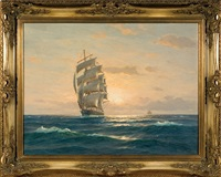 tall ship in sunset by martin franz glüsing (francis-glüsing)