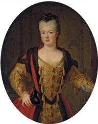 portrait de louise-adélaïde de bourbon-conti, dite mademoiselle de la roche-sur-yon, en habit de bal by pierre gobert