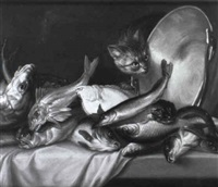 a cat with fish on a table by willem ormea