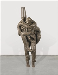 piggyback (caucasian piggyback on chinese) by juan muñoz