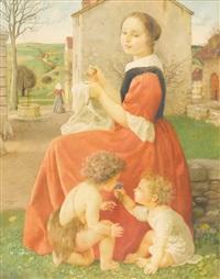 maria mit jesus und johannes im dorf by charles-louis rivier
