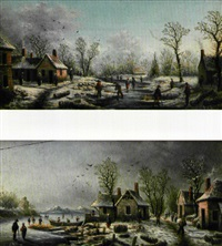 paysage de neige (+ another; pair) by albert-alexandre lenoir