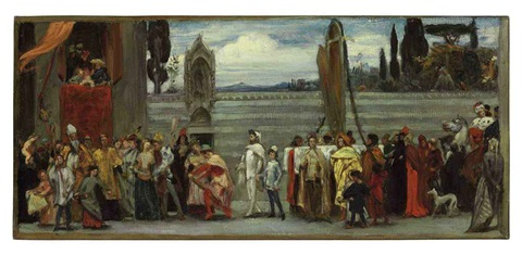cimabues celebrated madonna is carried in procession through the streets in florence sketch by lord frederick leighton