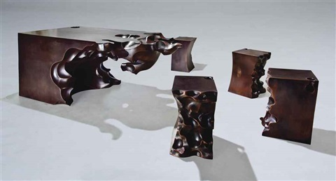 buddha hand table and four stools by shi jianmin