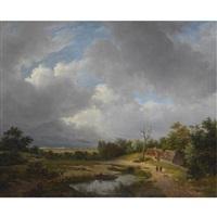figures in a summer landscape by petrus johannes van veen