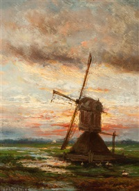 mill at sunset by johannes hermanus barend koekkoek