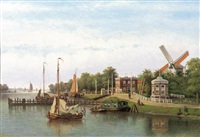 a view of the binnen amstel, amsterdam by johannes jacobus antonius hilverdink
