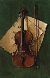 still life with violin, bow and sheet music by nicholas alden brooks