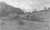 berglandschaft mit kühen an der tränke by otto weber