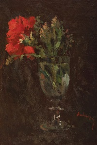 red carnation in glass by ioan andresscu