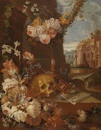 ein vanitas-stillleben mit blumen, totenkopf, sanduhr, seifenblasen und ruinen by franz werner von tamm