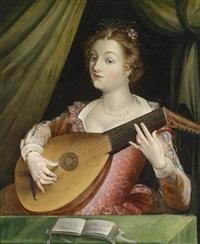 eine vornehm gekleidete lautenspielerin by french school-fontainebleau (16)
