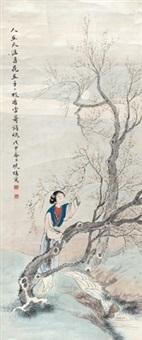 梅花仕女 立轴 纸本 by fei danxu