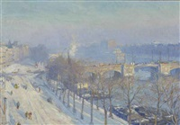 a view of the river amstel in winter, seen from the artist's studio, amsterdam by hendrik jan wolter