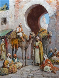 middle eastern figures by entrance gate to a city with camels, some resting by arthur trevor haddon