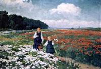 deux filles dans les champs fleuris by emil lindemann