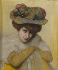 elégante au chapeau by emile renard