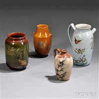 rookwood pottery vases (4 works) by rookwood pottery