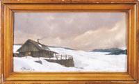 pejzaż zimowy z chatą by odo (otton) dobrowolski