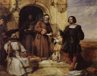 columbus asking bread and water for his child at the door of the convent of santa maria de rabida by william simson