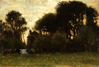 cows in a meadow with a farm in the background by gerardus johannes roermeester