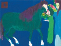 two ladies with a green horse by walasse ting