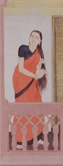 a woman combing her hair by sushil sen