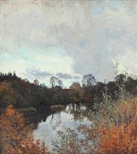 autumn day at a forest lake by thorvald simeon niss
