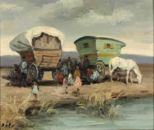 rastende zigeuner an einem gewässer by marcel dyf