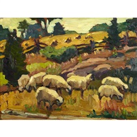 sheep grazing, marshall's bay by kathleen moir morris