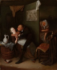 an unequal couple in an inn, with an old woman looking around the corner by hendrik (h.) de valk