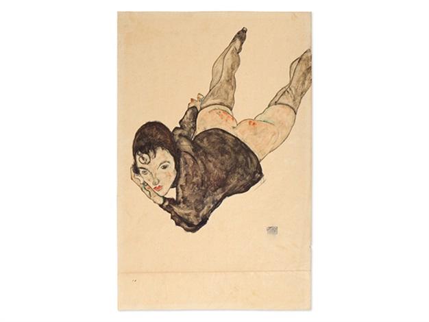 reclining woman by egon schiele