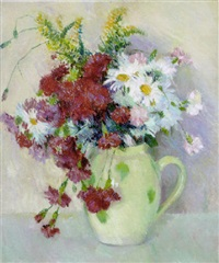 carnations and flowers in a white pitcher by bernhard gutmann