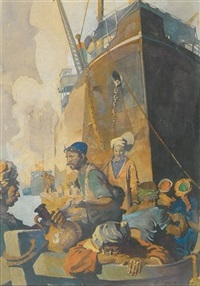 natives on boat, looming freighter in background (illus. for harper's monthly?) by george harding