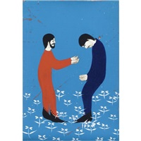 untitled (red man and blue man) by clare rojas