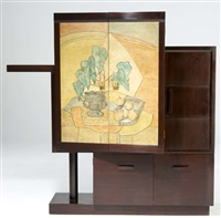 cabinet with panels depicting still life by marianna von allesch