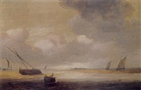 shipping in a calm with a fishing boat in the foreground, and a fortified harbour in the background by hendrick van anthonissen