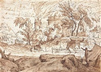 paysage aux ruines antiques by abraham genoels