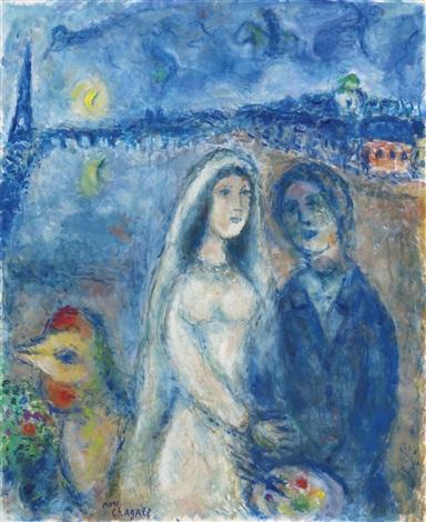 La mariée sur fond de la tour Eiffel by Marc Chagall on artnet