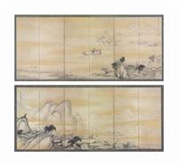chinese landscape six panel screen (pair) by shohaku