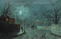 A moonlit street scene