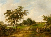 landscape with church towers by robert burrows