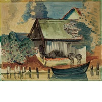 mill and rowboat, possibly in rowe by max pechstein