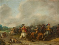 a cavalry battle in a panoramic landscape by palamedes palamedesz the elder