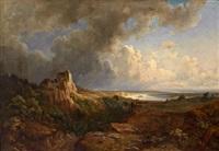 weite landschaft mit schafherde vor dem gewitter by kilian metzinger
