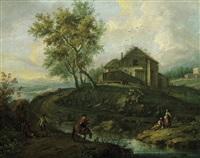 paesaggio con casolari e figure by giuseppe antonio pianca