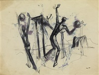 untitled (ballplayers, wharf, and ladder) by hughie lee smith
