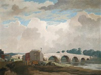 river bank with gypsy caravans by hesketh (eric h.) hubbard