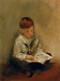 boy reading by thomas benjamin kennington